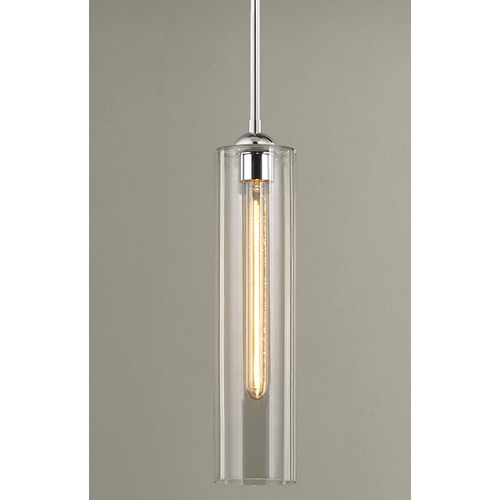 Design Classics Lighting Chrome Mini-Pendant Light with Clear Cylinder Glass 581-26 GL1640C