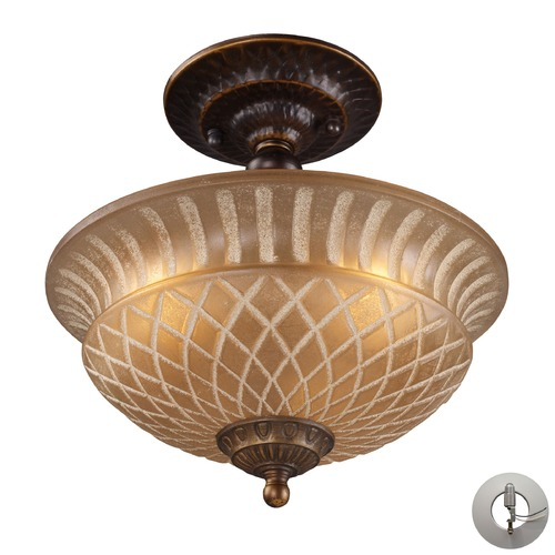 Elk Lighting Restoration Flushes Golden Bronze Semi-Flushmount Light - Includes Recessed Adapter Kit 08097-AGB-LA