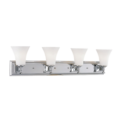 Progress Lighting Progress Bathroom Light with White Glass in Chrome Finish P3134-15
