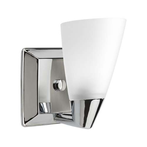 Wall Sconce Chrome Finish : Progress Sconce Wall Light with White Glass in Polished Chrome Finish P2805-15 Destination ...