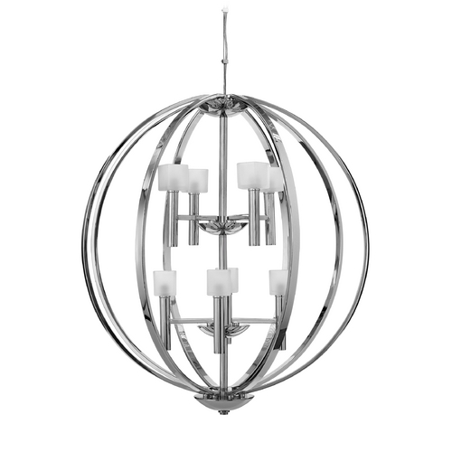 Frederick Ramond Modern Pendant Light with White Glass in Polished Chrome Finish FR49298PCM