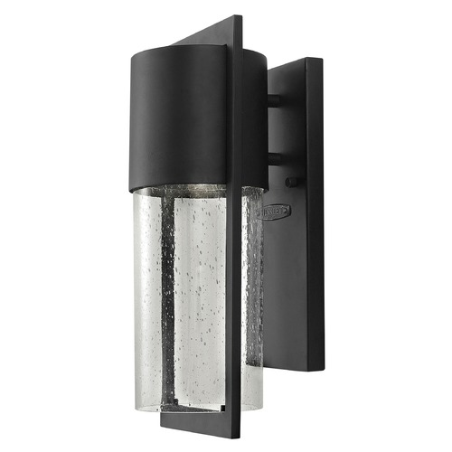 Hinkley Lighting Dwell 15-1/2-Inch Outdoor Wall Light with Seedy Glass 1320BK