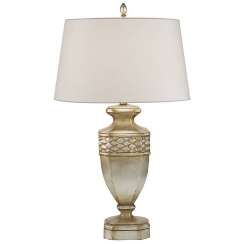 Fine Art Lamps Fine Art Lamps Recollections Antiqued, Gold-Stained Silver Leaf Table Lamp with Drum Shade 829410ST