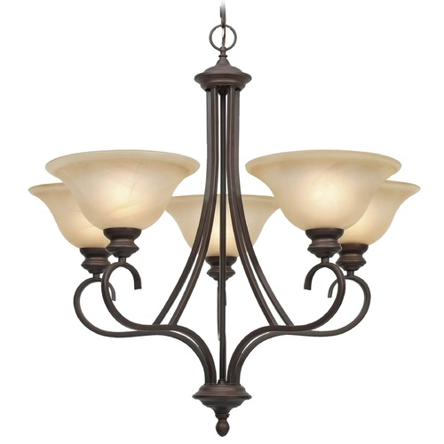 Golden Lighting Golden Lighting Lancaster Rubbed Bronze Chandelier 6005-5 RBZ