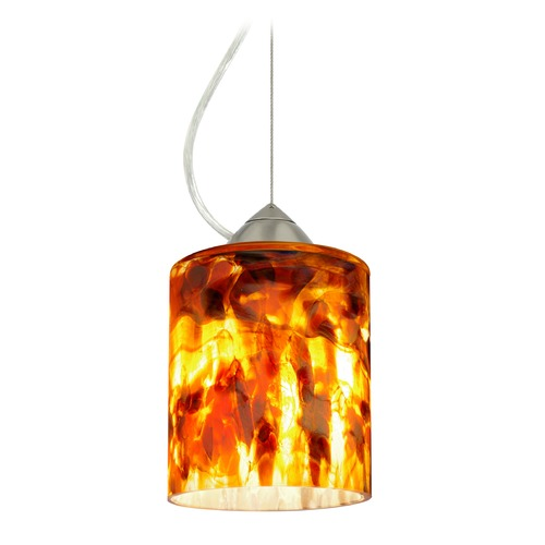 Besa Lighting Besa Lighting Falla Satin Nickel Mini-Pendant Light with Cylindrical Shade 1KX-FAL6CF-SN