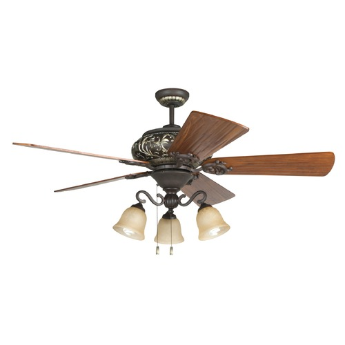 Craftmade Lighting Craftmade Lighting Ophelia Aged Bronze/vintage Madera Ceiling Fan with Light K11237