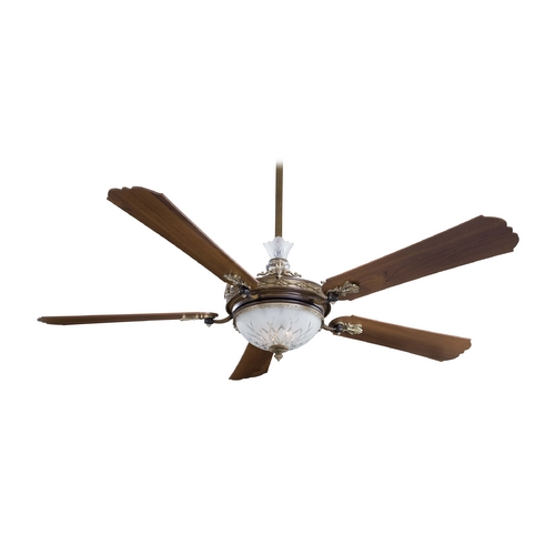 Minka Aire Ceiling Fan with Light with White Glass in Belcaro Walnut Finish F900-BCW