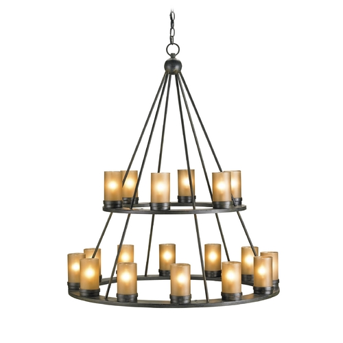 Currey and Company Lighting Chandelier with White Glass in Old Iron Finish 9077