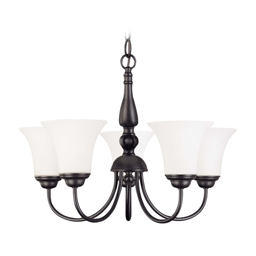 Nuvo Lighting Bronze Fluorescent Chandelier Light with White Bell Glass Shades 60/1922