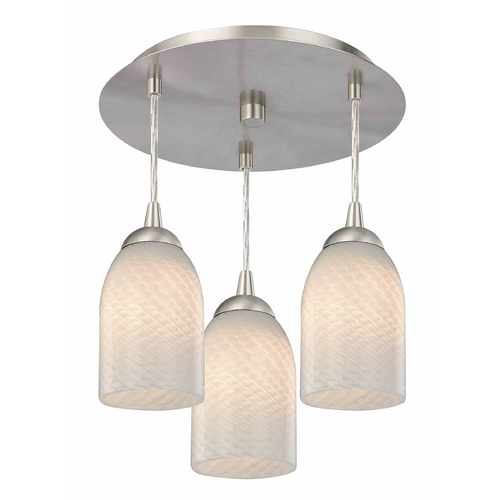Design Classics Lighting 3-Light Semi-Flush Ceiling Light with White Art Glass - Nickel Finish 579-09 GL1020D