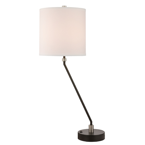 Design Classics Lighting Contemporary Table Lamp with White Drum Shade JJ DCL M6815-09/502 / SH7642