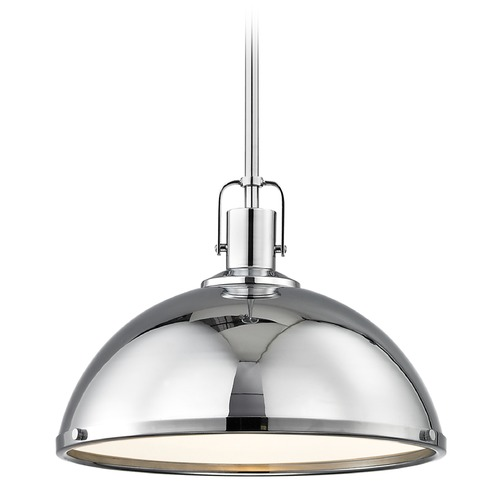 Design Classics Lighting Nautical Chrome Pendant Light with Metal Shade 13.38-Inch Wide 1762-26 SH1776-26 R1776-26