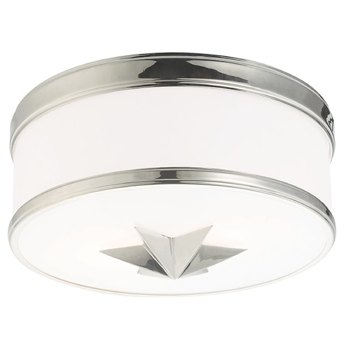 Hudson Valley Lighting Seneca 2 Light Flushmount Light Drum Shade - Polished Nickel 1112-PN