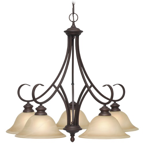 Golden Lighting Golden Lighting Lancaster Rubbed Bronze Chandelier 6005-D5 RBZ