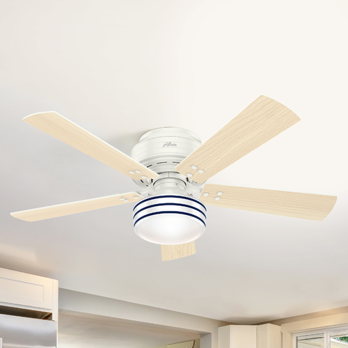 Hunter Fan Company Hunter 52-Inch Fresh White LED Ceiling Fan with Light with Hand-Held Remote 55079