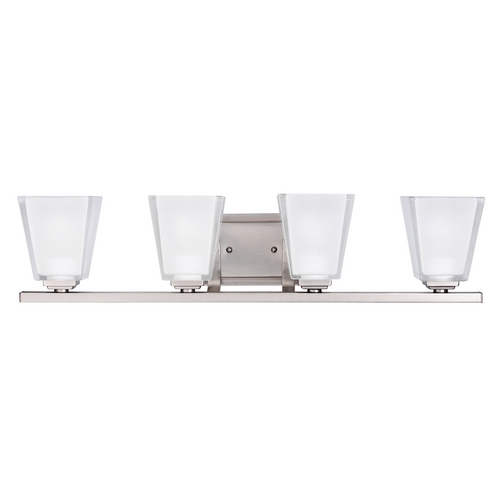 Kichler Lighting Kichler Modern Bathroom Light with White Glass in Pewter Finish 5462AP