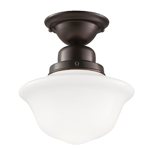 Hudson Valley Lighting Semi-Flushmount Light with White Glass in Old Bronze Finish 1609F-OB