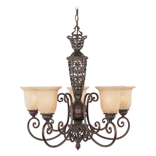 Designers Fountain Lighting Chandelier with Beige / Cream Glass in Burnt Umber Finish 97585-BU