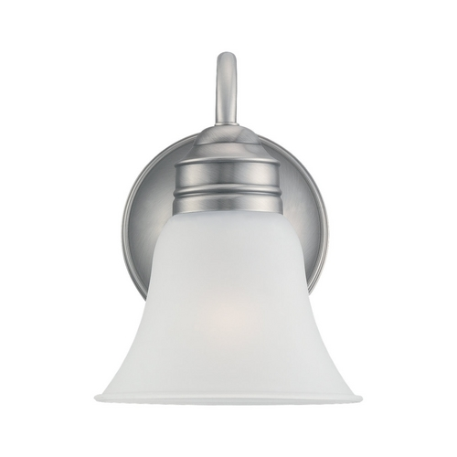 Sea Gull Lighting Sconce Wall Light with White Glass in Antique Brushed Nickel Finish 49850BLE-965