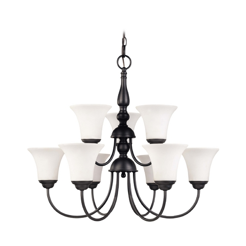 Nuvo Lighting Bronze Two-Tier Fluorescent Chandelier with White Bell Glass Shades 60/1923