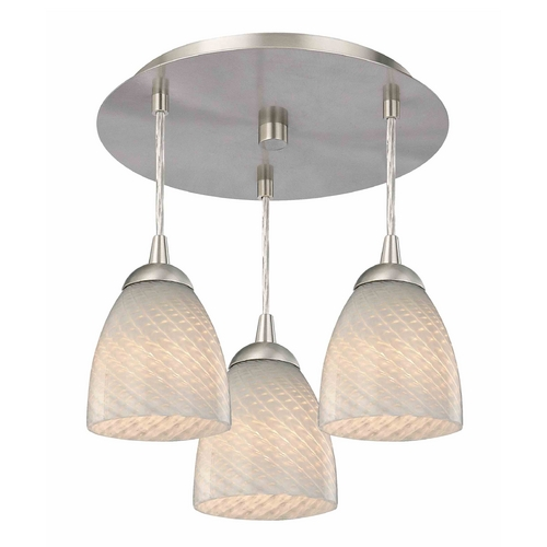 Design Classics Lighting 3-Light Semi-Flush Ceiling Light with White Art Glass - Nickel Finish 579-09 GL1020MB