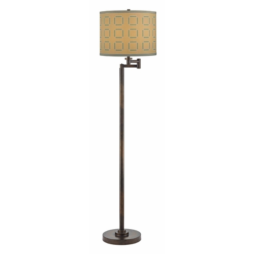 Design Classics Lighting Bronze Swing Arm Lamp with Tan and Turquoise Drum Shade 1901-1-604 SH9545