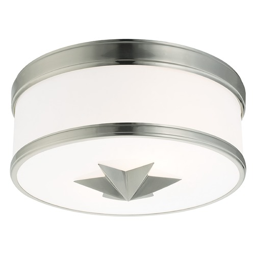 Hudson Valley Lighting Seneca 2 Light Flushmount Light Drum Shade - Satin Nickel 1112-SN