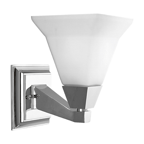 Progress Lighting Progress Sconce Wall Light with White Glass in Chrome Finish P3135-15