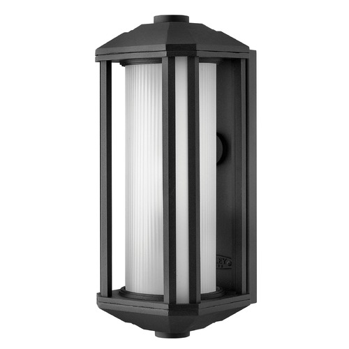 Hinkley Lighting Outdoor Wall Light with White Glass in Black Finish 1390BK