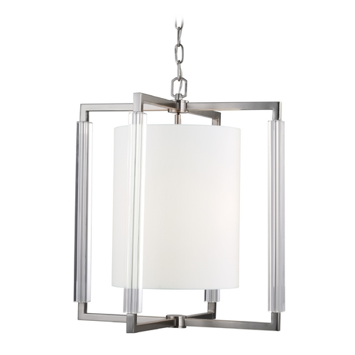 Feiss Lighting Feiss Lighting Fording Brushed Steel Pendant Light with Cylindrical Shade F2927/3BS