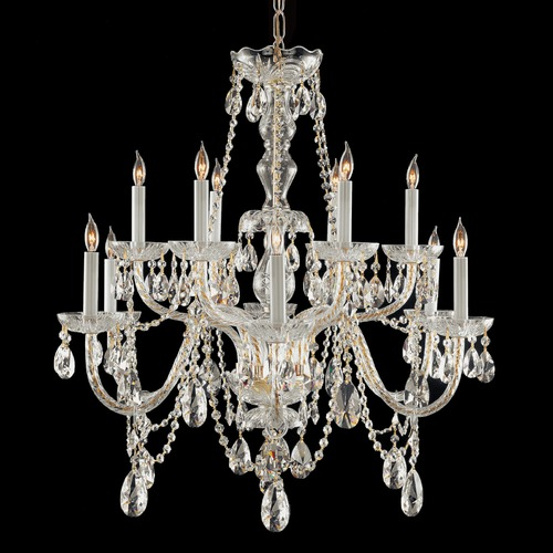 Crystorama Lighting Crystorama Traditional 2-Tier 12-Light Crystal Chandelier in Polished Brass 1135-PB-CL-S