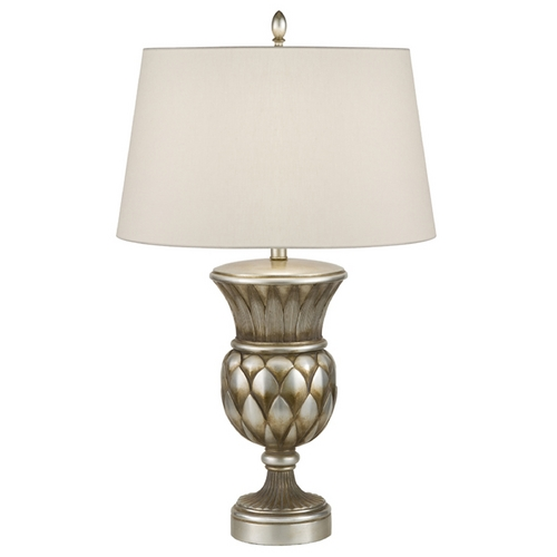 Fine Art Lamps Fine Art Lamps Recollections Antiqued, Gold-Stained Silver Leaf Table Lamp with Drum Shade 829710ST