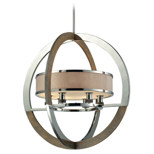 Elk Lighting Elk Lighting Crestwood Polished Nickel Pendant Light with Drum Shade 31018/6