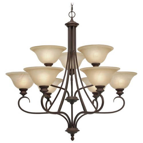 Golden Lighting Golden Lighting Lancaster Rubbed Bronze Chandelier 6005-9 RBZ