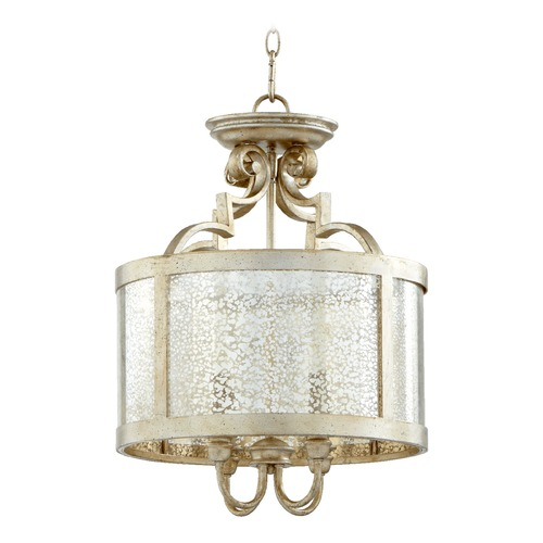 Quorum Lighting Quorum Lighting Champlain Aged Silver Leaf Pendant Light with Drum Shade 2881-16-60