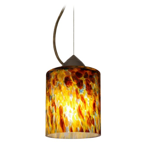 Besa Lighting Besa Lighting Falla Bronze LED Mini-Pendant Light with Cylindrical Shade 1KX-FAL6QZ-LED-BR