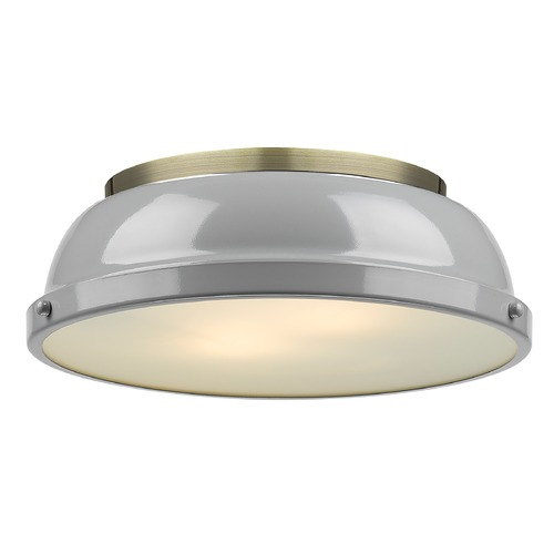 Golden Lighting Golden Lighting Duncan Grey Flushmount Light with Aged Brass Accent 3602-14AB-GY