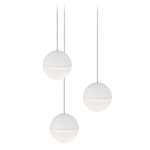 Kuzco Lighting Modern White LED Multi-Light Pendant with Frosted Shade 3000K 1200LM MP10503-WH