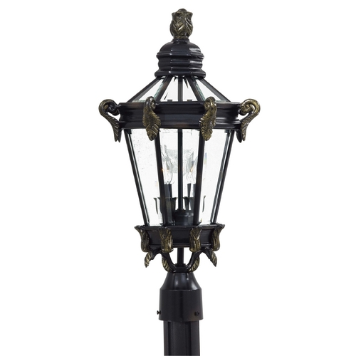 Minka Lavery Post Light with Clear Glass in Heritage W/gold Highlights Finish 8935-95