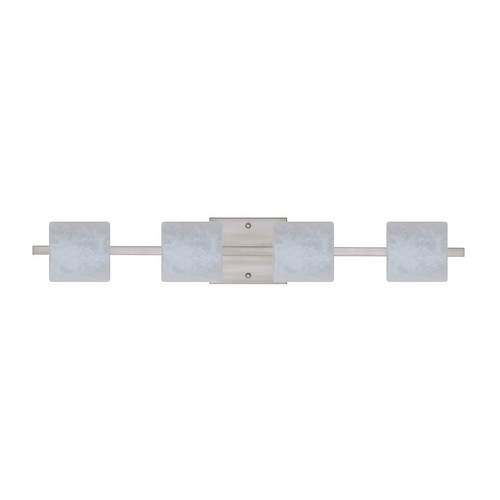 Besa Lighting Modern Bathroom Light with White Glass in Satin Nickel Finish 4WS-787319-SN