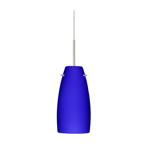 Besa Lighting Modern Pendant Light with Blue Glass in Satin Nickel Finish 1JT-1512CM-SN