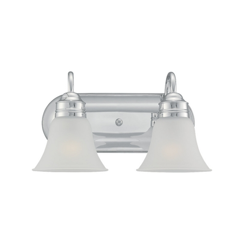 Sea Gull Lighting Bathroom Light with White Glass in Chrome Finish 49851BLE-05