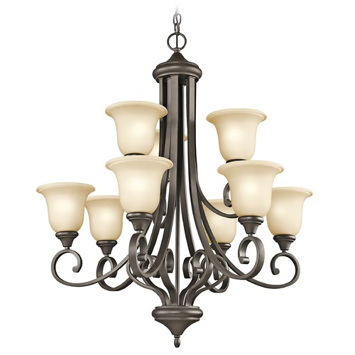 Kichler Lighting Kichler Chandelier with Amber Glass in Olde Bronze Finish 43159OZ