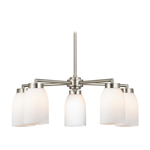 Design Classics Lighting Modern Chandelier with White Glass in Satin Nickel Finish 590-09 GL1028D