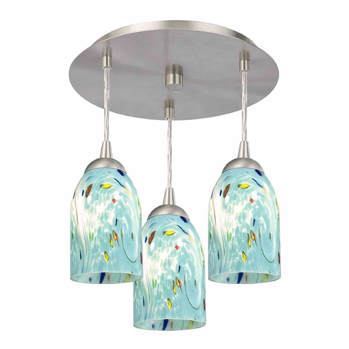 Design Classics Lighting 3-Light Semi-Flush Ceiling Light with Turquoise Art Glass - Nickel Finish 579-09 GL1021D