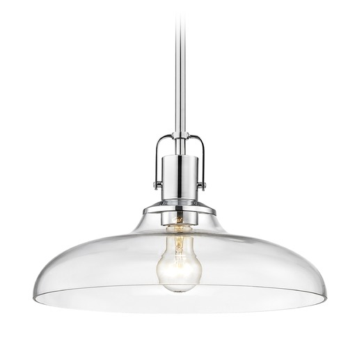 Design Classics Lighting Clear Glass Pendant Light Chrome Finish  14-Inch Wide 1762-26 G1784-CL