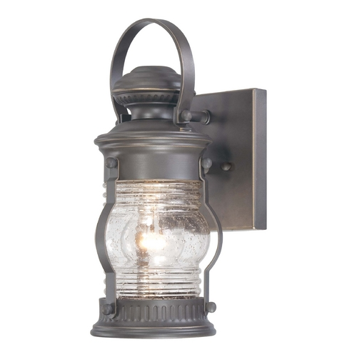 Minka Lavery Outdoor Wall Light with Clear Glass in Oil Rubbed Bronze W / Gold Highlights Finish 72231-143C