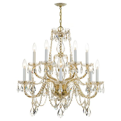 Crystorama Lighting Crystorama Traditional 2-Tier 12-Light Crystal Chandelier in Polished Brass 1135-PB-CL-SAQ
