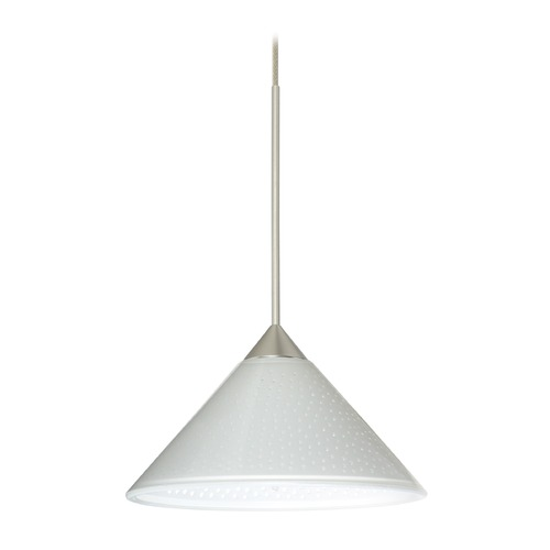 Besa Lighting Besa Lighting Kona Satin Nickel LED Mini-Pendant Light with Conical Shade 1XT-282453-LED-SN