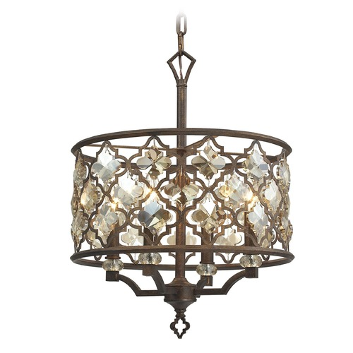 Elk Lighting Elk Lighting Armand Weathered Bronze Pendant Light with Drum Shade 31096/4